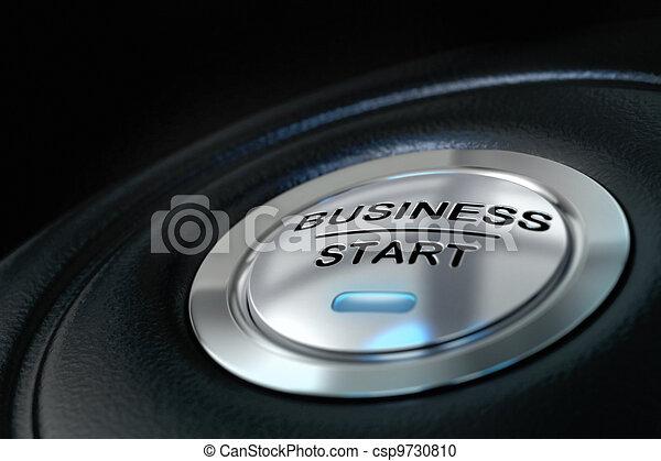 blu, sopra, affari, spinto, bottone, luce, inizio, fondo, nero, nuovo, simbolo, affari - csp9730810