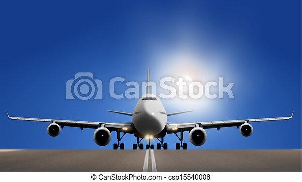 blu, sopra, cielo, aeroplano, fuoricorsa - csp15540008