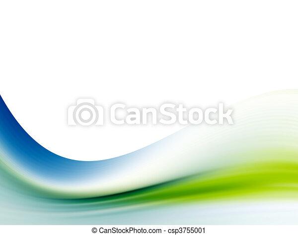 blu, sopra, dinamico, onda, fondo., verde, disegno, bianco, astratto - csp3755001