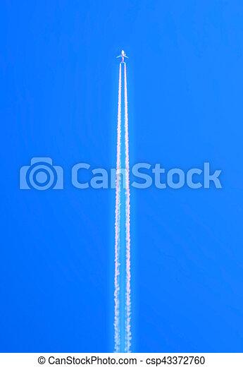 blu, sopra, volare, cielo, abbandono, alto, scia, bianco, relativo, altitudine, aeroplano - csp43372760