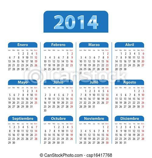 Calendario Anno 2014.Blu Spagnolo Lucido Anno 2014 Calendario