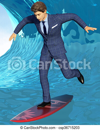 blu, surfer, affari, onda - csp36715203