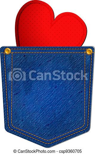 blu, tasca, jean, cuore - csp9360705