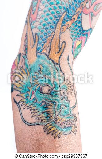 Blu Tatuaggio Braccio Drago Dettagliato Tatuaggio Blu Verde