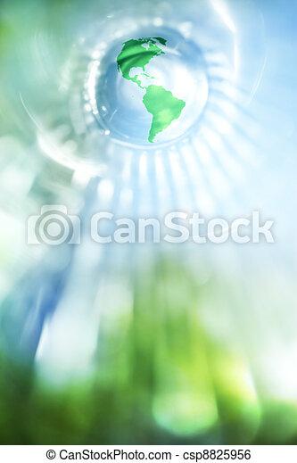 blu, terra, sfondo verde - csp8825956