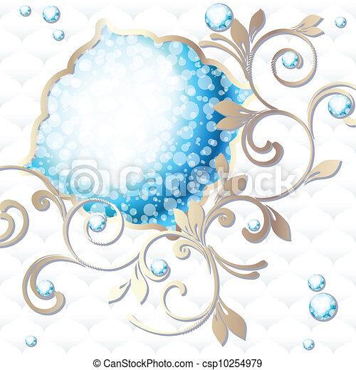 blu, vibrante, rococo, emblema - csp10254979