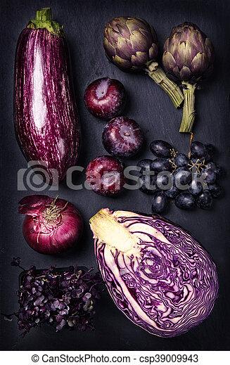 blu, viola, verdura, frutte - csp39009943
