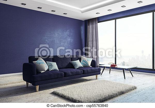 blu, vivente, interno, stanza, copyspace - csp55763840