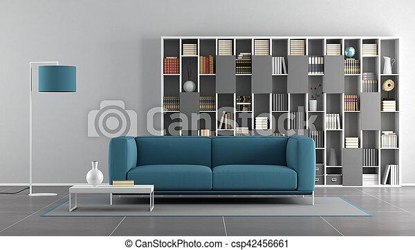 blu, vivente, stanza moderna, grigio - csp42456661