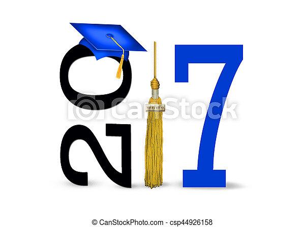 blue 2017 graduation cap and tassel - csp44926158