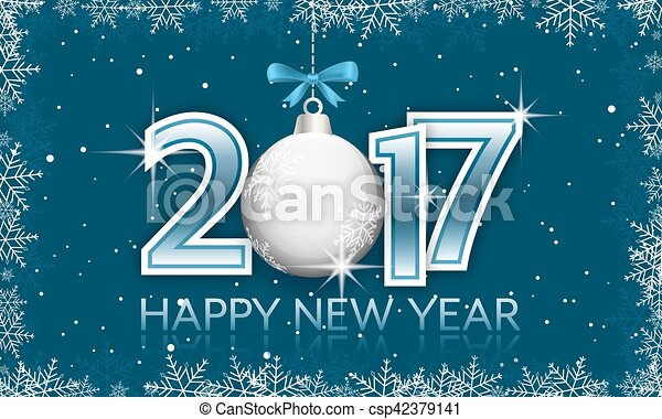 Blue 2017 New Year banner with hanging bauble and bow. - csp42379141
