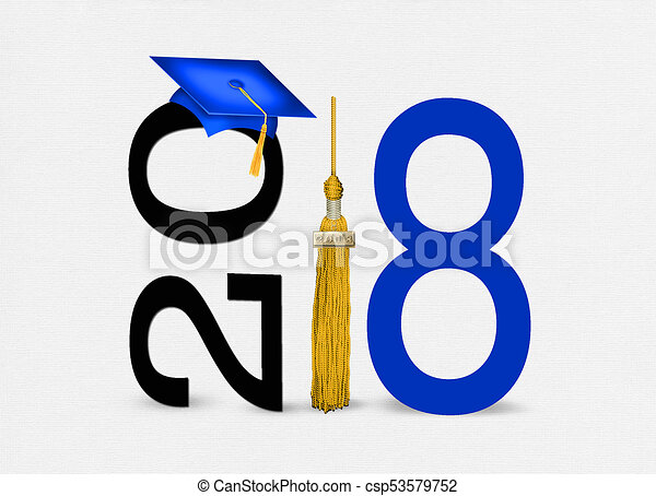 blue 2018 graduation cap with gold tassel - csp53579752