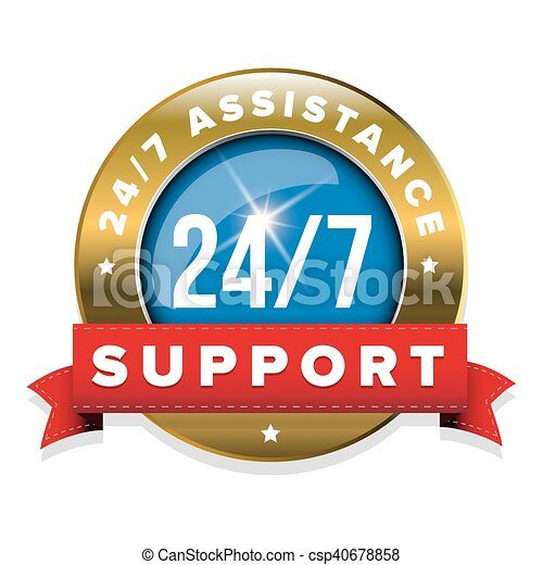 Blue 24/7 support badge with ribbon and goldl border - csp40678858