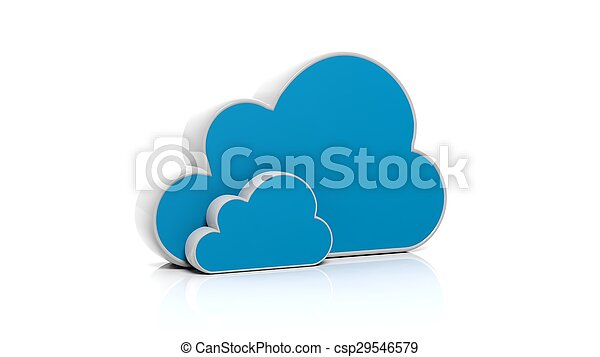 Blue 3D cloud icon isolated on white background - csp29546579