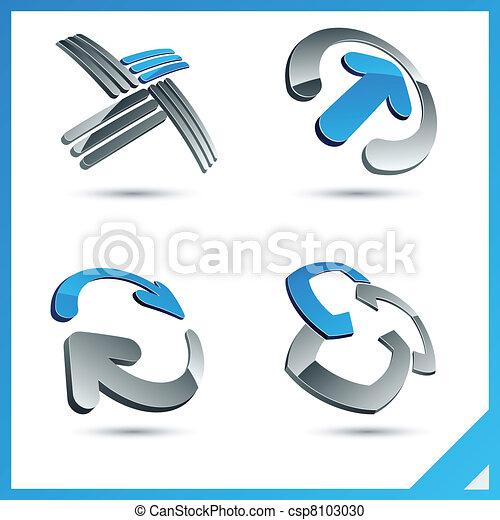 Blue 3d company signs. - csp8103030