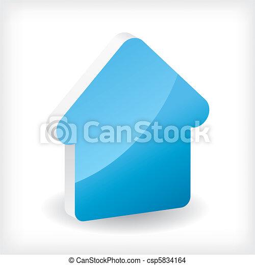 Blue 3d house icon - csp5834164
