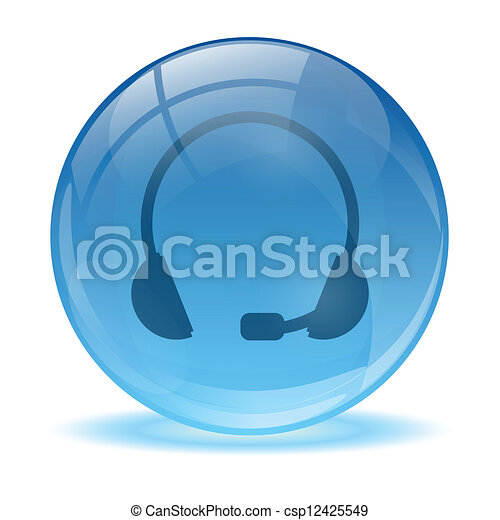 Blue abstract 3d headset icon - csp12425549