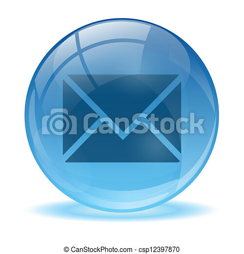 Blue abstract 3d mail icon - csp12397870