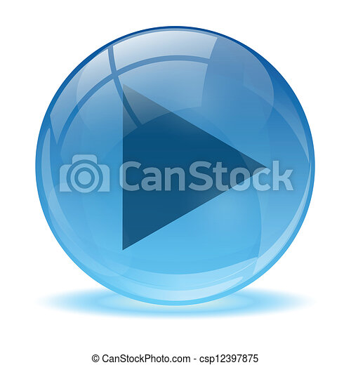 Blue abstract 3d play icon - csp12397875
