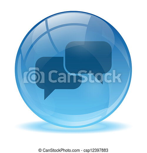 Blue abstract 3d talk icon - csp12397883