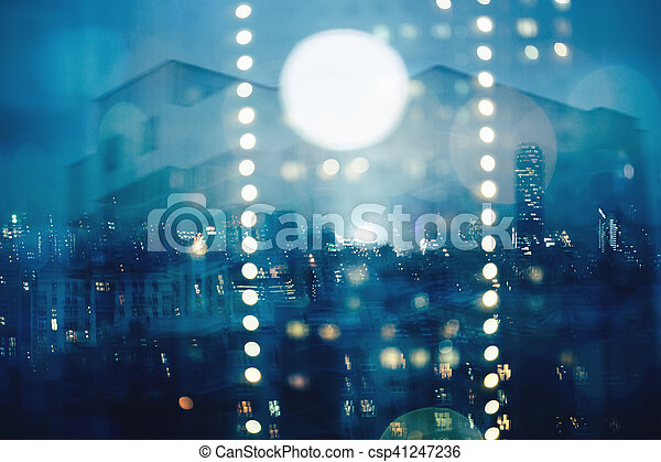 Blue abstract blurred cityscape background - csp41247236