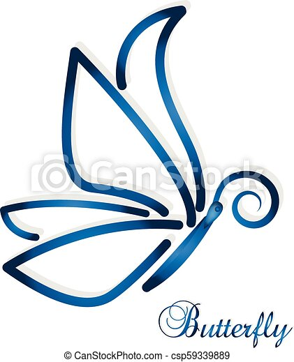 Blue abstract butterfly vector - csp59339889