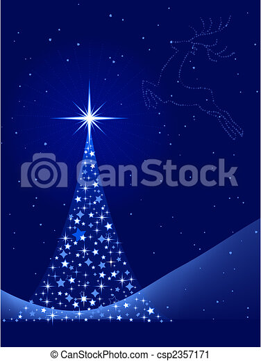 Blue abstract Christmas background with Christmas tree and reindeer - csp2357171