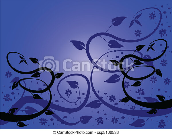 Blue Abstract Floral Background - csp5108538