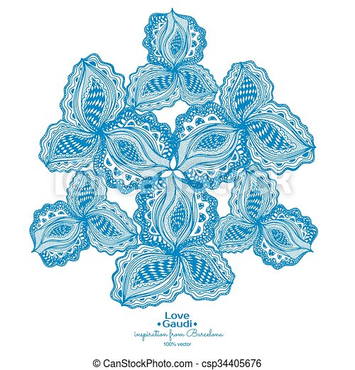 Blue abstract floral element with text for decorative design. - csp34405676