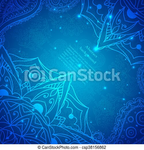 Vector Blue Abstract Flower Background