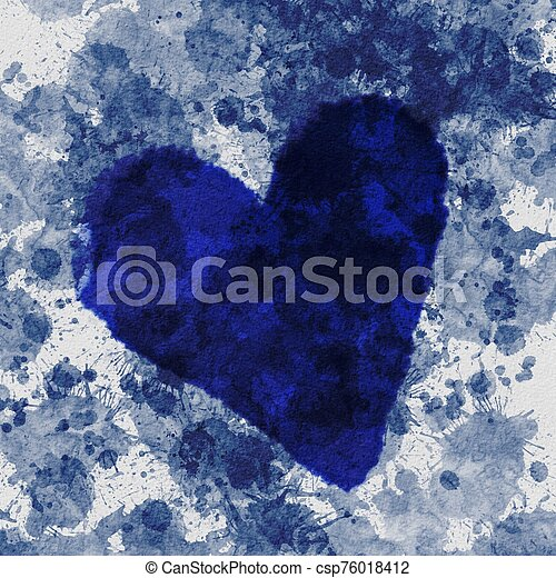 Blue abstract Grunge Background with Blue Heart - csp76018412