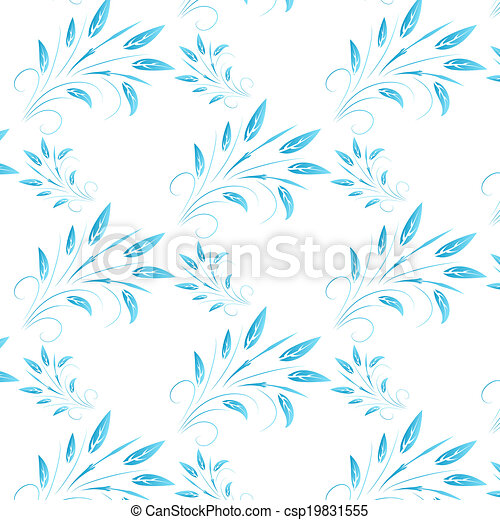 blue abstract leaves seamless background - csp19831555