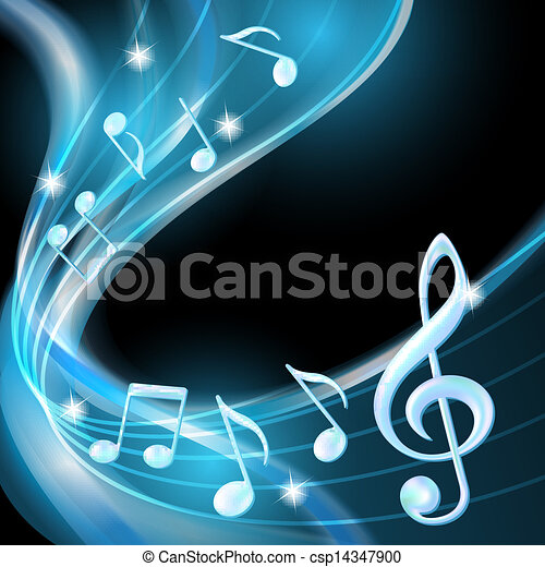 Blue abstract notes music background. - csp14347900