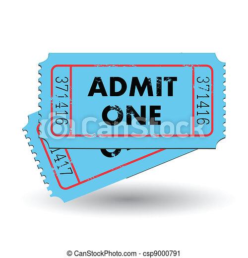 Blue Admit One Ticket - csp9000791