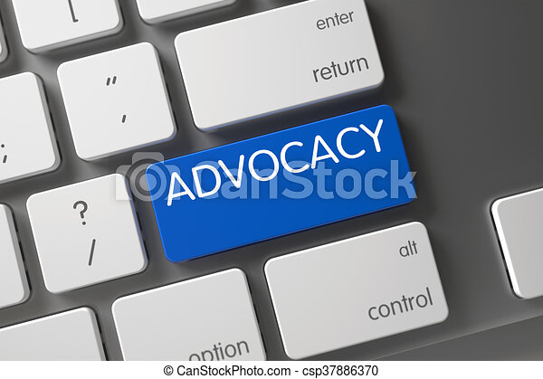 Blue Advocacy Button on Keyboard. - csp37886370
