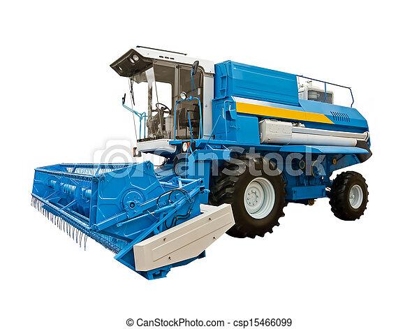 Blue agricultural harvester - csp15466099