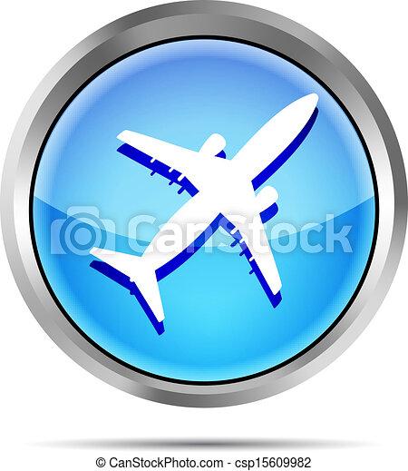 blue airplane icon on a white - csp15609982