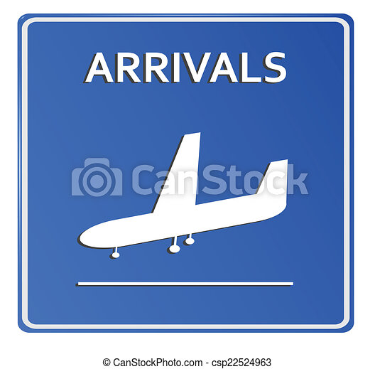 Blue Airport Icon, Arrivals..Vector illustration - csp22524963
