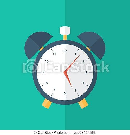 Blue alarm clock icon over green - csp23424563