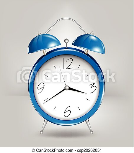 Blue alarm clock. Vector - csp20262051