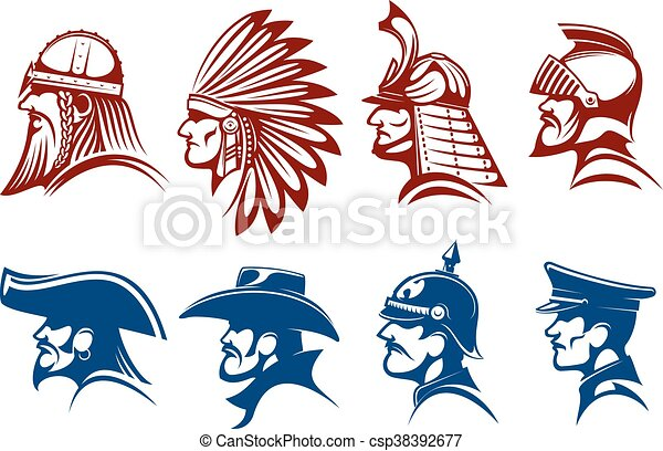 Blue And Brown Icons Of Warriors Soldiers Symbols Pirate And