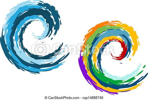 Blue and colorful ocean waves - csp14888749