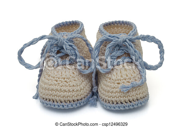 Blue and Ecru Hand-made baby booties - csp12496329