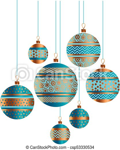 Christmas Ornament Vector.Blue And Gold Christmas Bauble Decor