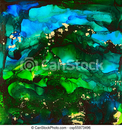 Blue and Gold in Alcohol Ink - csp55973496