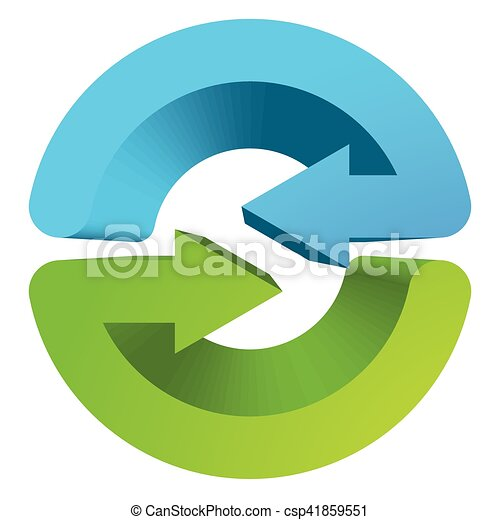 Blue and green circular arrow symbol / icon - csp41859551
