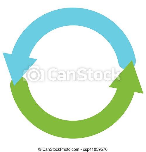 Blue and green circular arrow symbol / icon - csp41859576