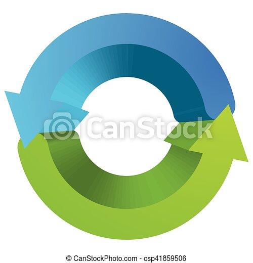 Blue and green circular arrow symbol / icon - csp41859506