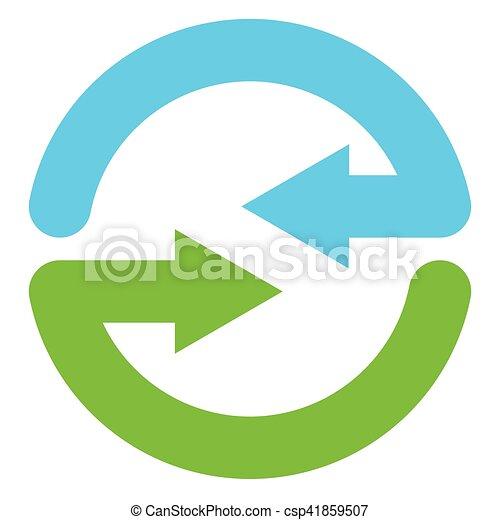 Blue and green circular arrow symbol / icon - csp41859507