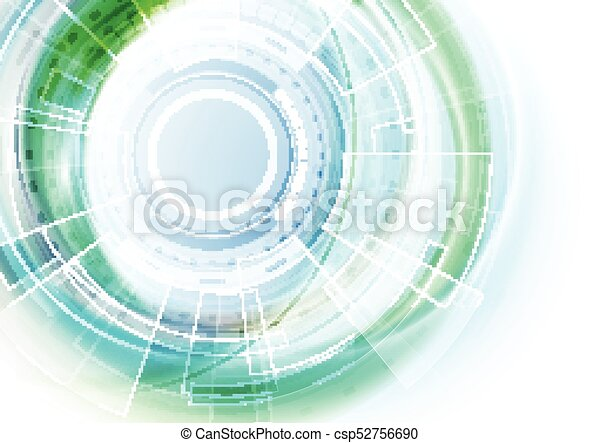 Blue and green futuristic technology abstract background - csp52756690